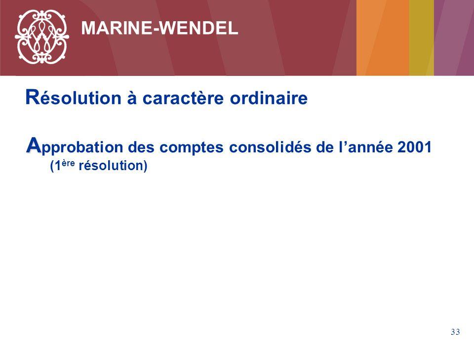 33 MARINE-WENDEL A pprobation des comptes consolidés de lannée 2001 (1 ère résolution) R ésolution à caractère ordinaire