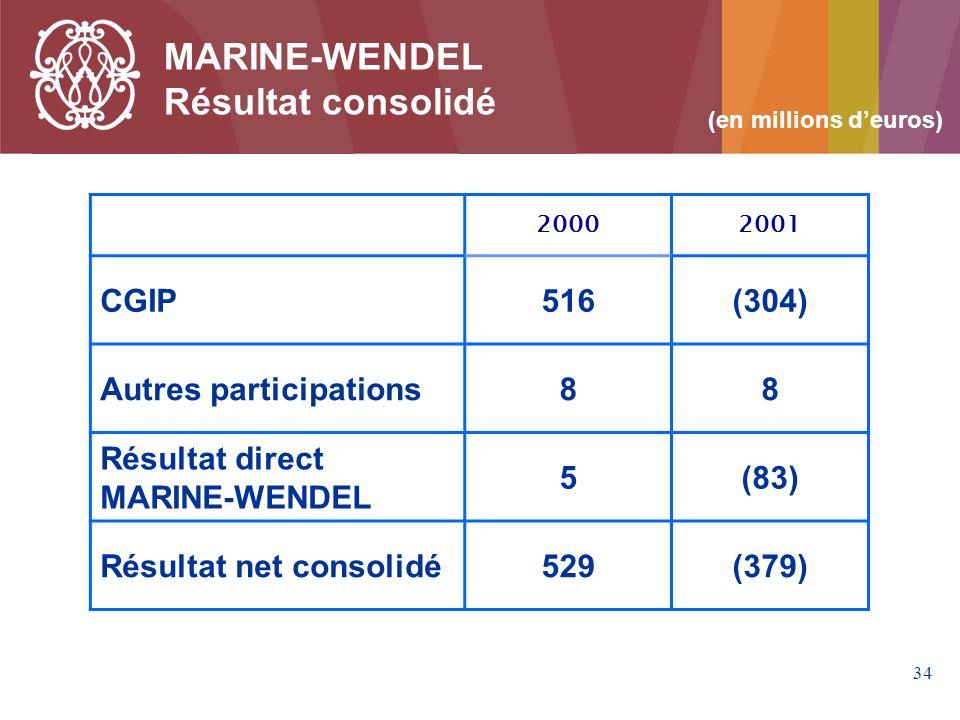 34 MARINE-WENDEL Résultat consolidé 20002001 CGIP516(304) Autres participations88 Résultat direct MARINE-WENDEL 5(83) Résultat net consolidé529(379) (en millions deuros)
