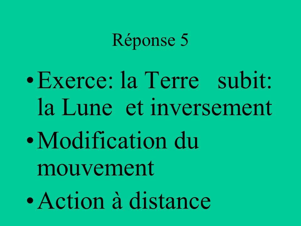 Réponse 5 Exerce: la Terre subit: la Lune et inversement Modification du mouvement Action à distance