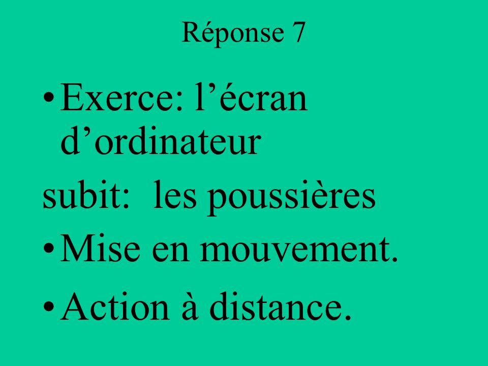 Réponse 7 Exerce: lécran dordinateur subit: les poussières Mise en mouvement. Action à distance.