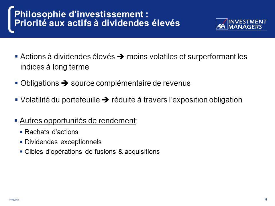 17/05/2014 7 Environnement : les actions à dividendes élevés sont moins volatiles que les autres Marché Européen : Sous secteurs Source : Exane BNP Paribas