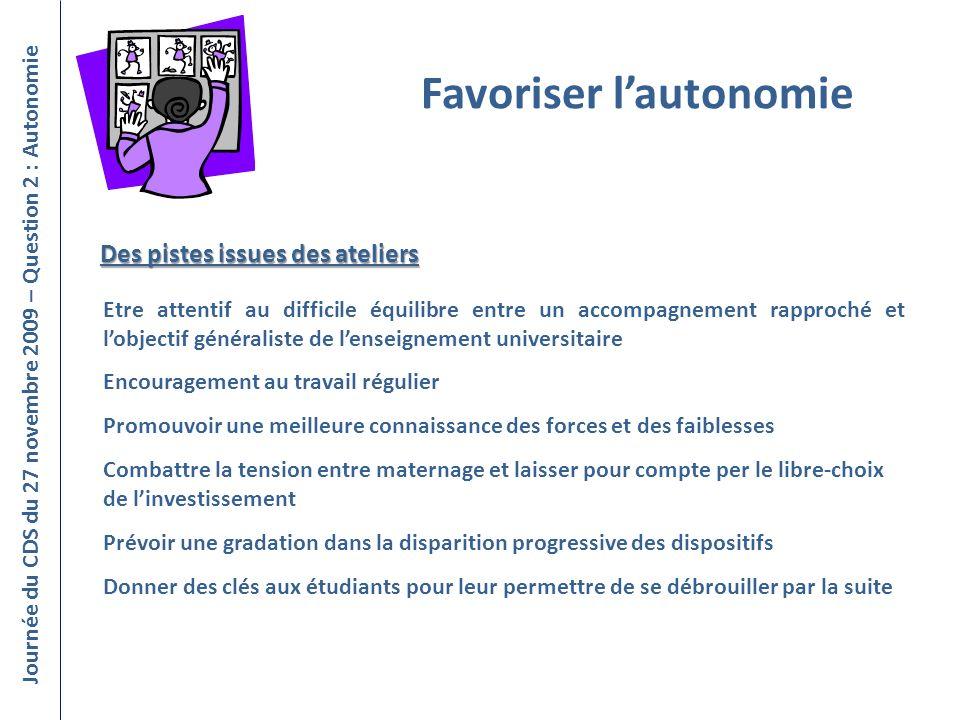 Favoriser lautonomie Journée du CDS du 27 novembre 2009 – Question 2 : Autonomie Etre attentif au difficile équilibre entre un accompagnement rapproch