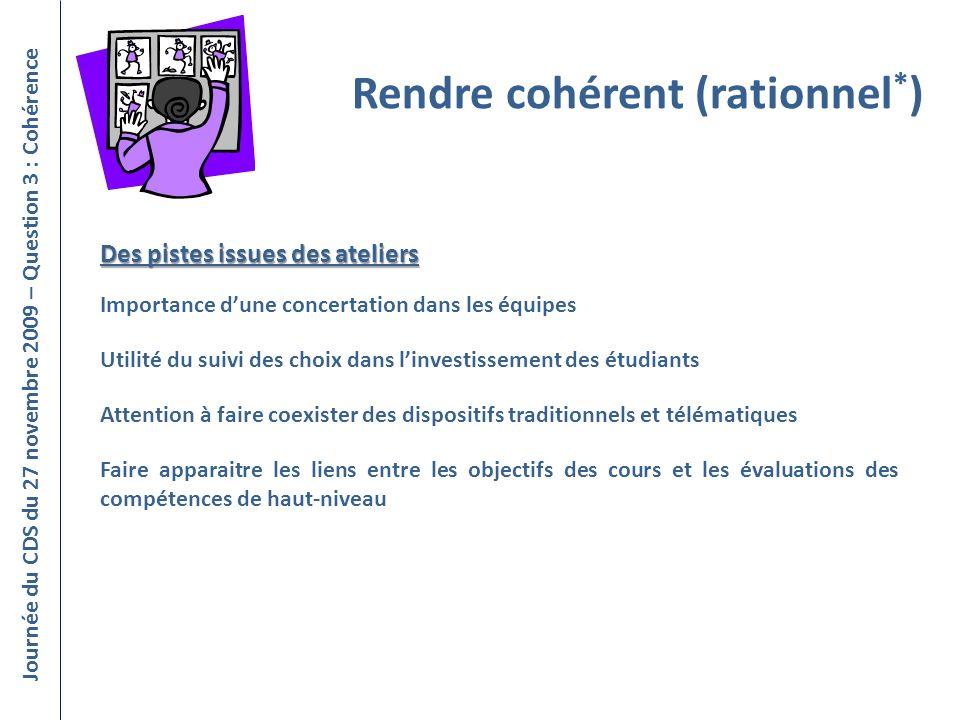 Journée du CDS du 27 novembre 2009 – Question 3 : Cohérence Rendre cohérent (rationnel * ) Importance dune concertation dans les équipes Utilité du su
