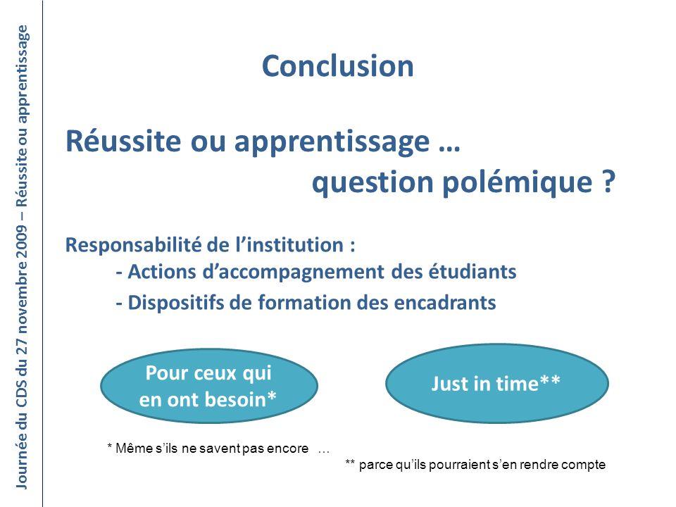 Conclusion Journée du CDS du 27 novembre 2009 – Réussite ou apprentissage Réussite ou apprentissage … question polémique ? Responsabilité de linstitut
