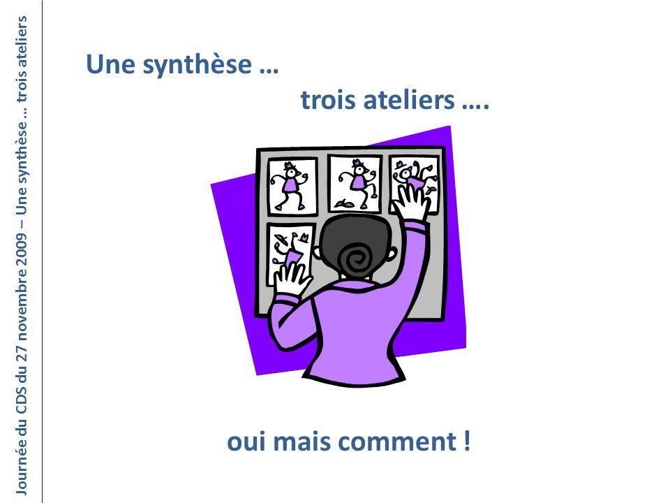 Une synthèse … trois ateliers …. Journée du CDS du 27 novembre 2009 – Une synthèse … trois ateliers oui mais comment !