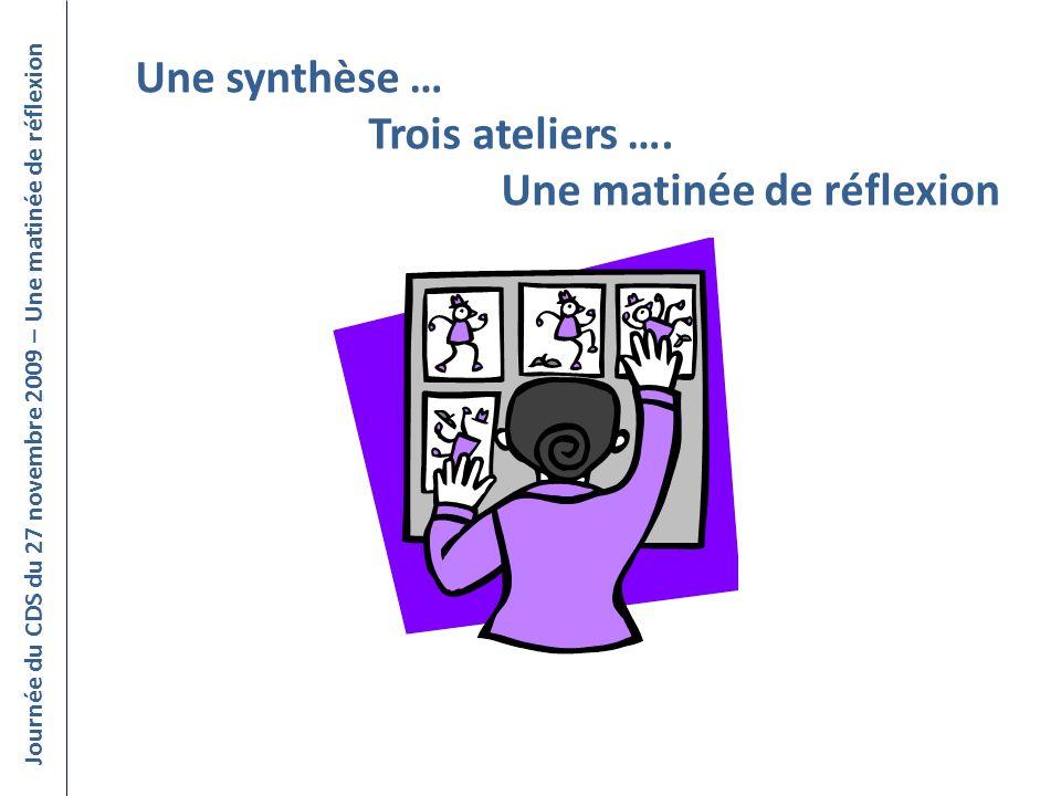 Une synthèse … Trois ateliers …. Une matinée de réflexion Journée du CDS du 27 novembre 2009 – Une matinée de réflexion