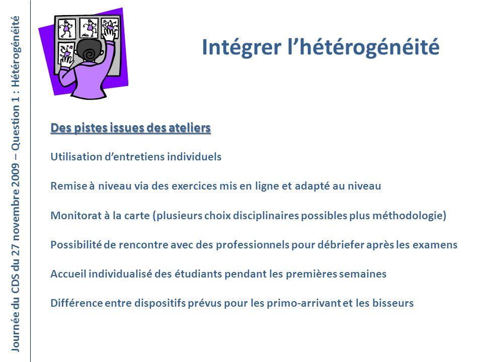 Intégrer lhétérogénéité Journée du CDS du 27 novembre 2009 – Question 1 : Hétérogénéité Utilisation dentretiens individuels Remise à niveau via des ex