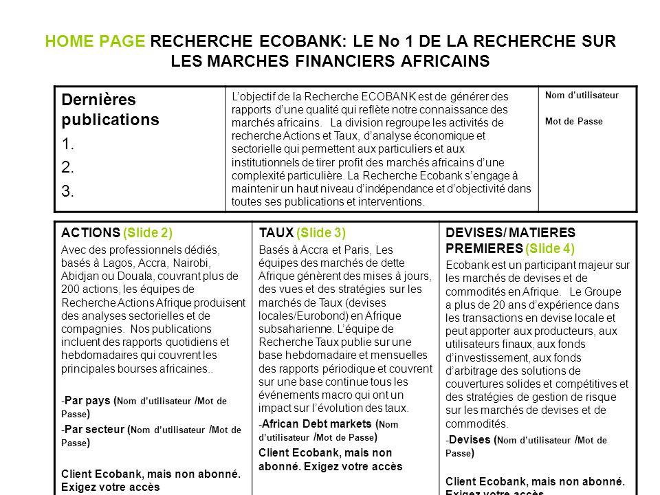 HOME PAGE RECHERCHE ECOBANK: LE No 1 DE LA RECHERCHE SUR LES MARCHES FINANCIERS AFRICAINS ACTIONS (Slide 2) Avec des professionnels dédiés, basés à Lagos, Accra, Nairobi, Abidjan ou Douala, couvrant plus de 200 actions, les équipes de Recherche Actions Afrique produisent des analyses sectorielles et de compagnies.