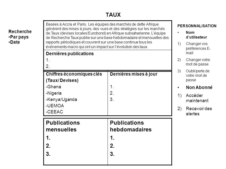 TAUX Basées à Accra et Paris, Les équipes des marchés de dette Afrique génèrent des mises à jours, des vues et des stratégies sur les marchés de Taux (devises locales/Eurobond) en Afrique subsaharienne.