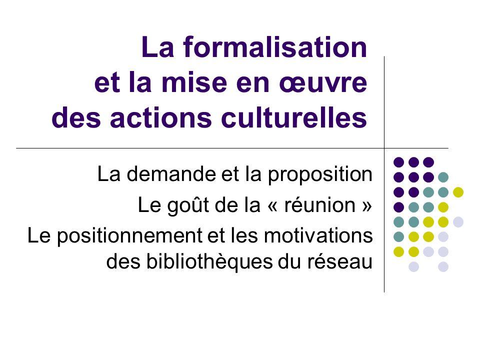 La formalisation et la mise en œuvre des actions culturelles La demande et la proposition Le goût de la « réunion » Le positionnement et les motivations des bibliothèques du réseau