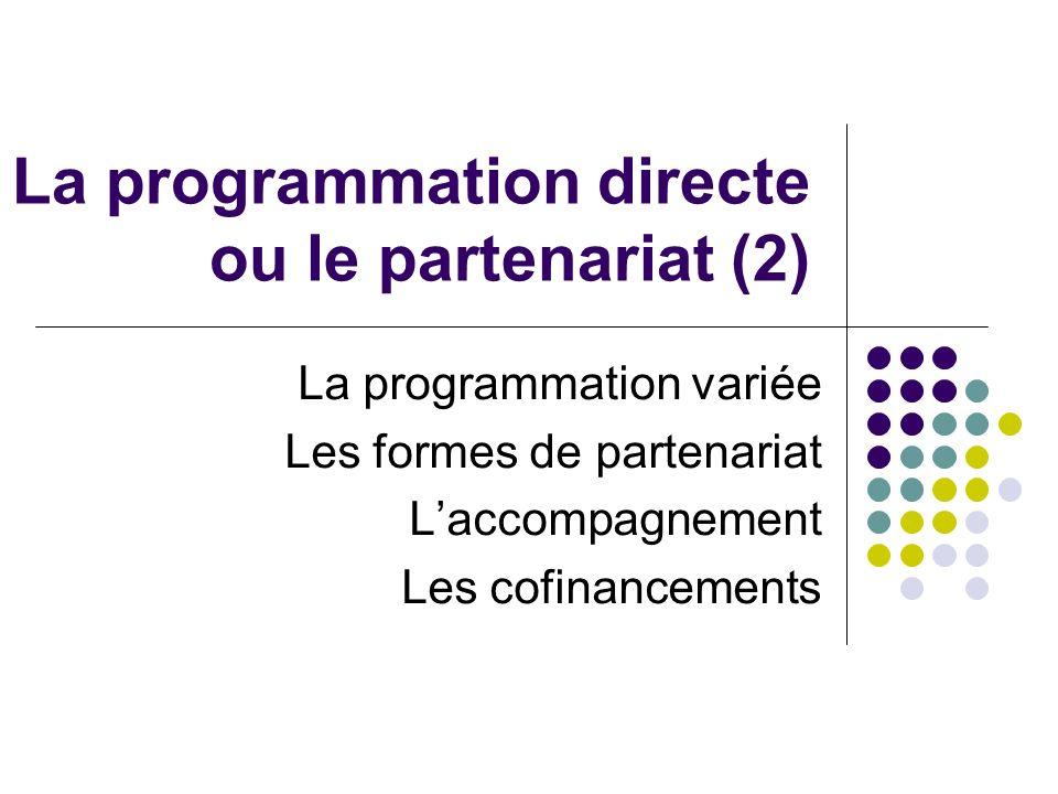La programmation directe ou le partenariat (2) La programmation variée Les formes de partenariat Laccompagnement Les cofinancements