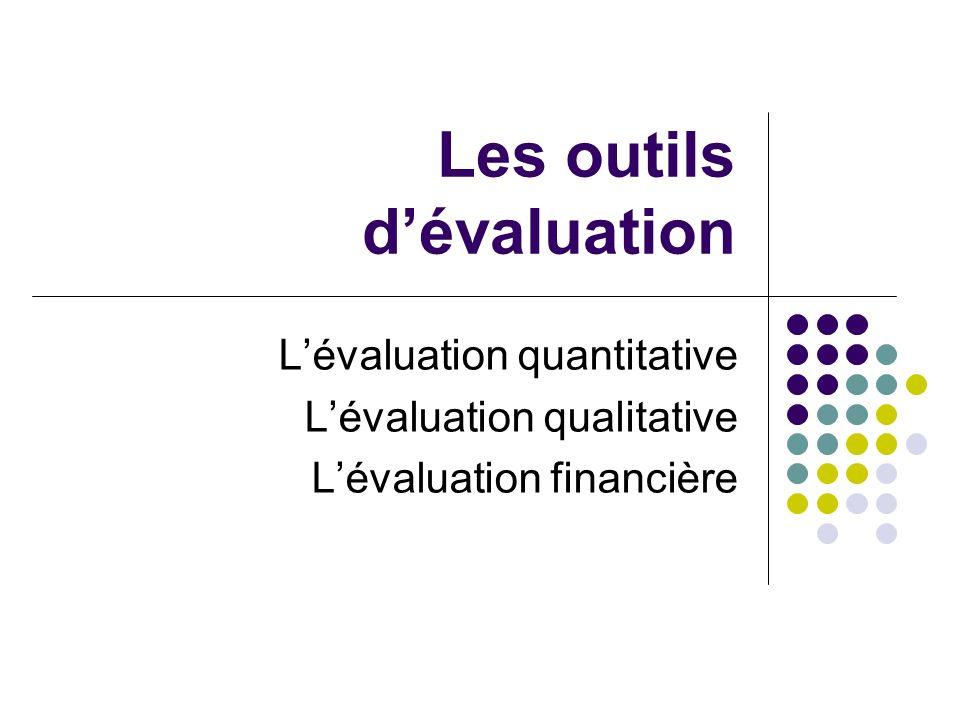Les outils dévaluation Lévaluation quantitative Lévaluation qualitative Lévaluation financière