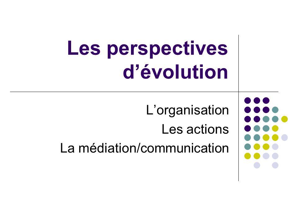 Les perspectives dévolution Lorganisation Les actions La médiation/communication