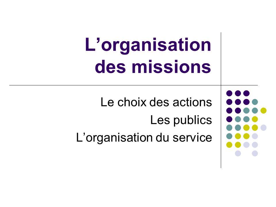 Lorganisation des missions Le choix des actions Les publics Lorganisation du service