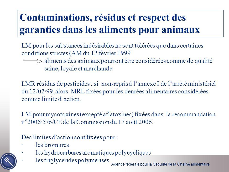 Agence fédérale pour la Sécurité de la Chaîne alimentaire Contaminations, résidus et respect des garanties dans les aliments pour animaux LM pour les