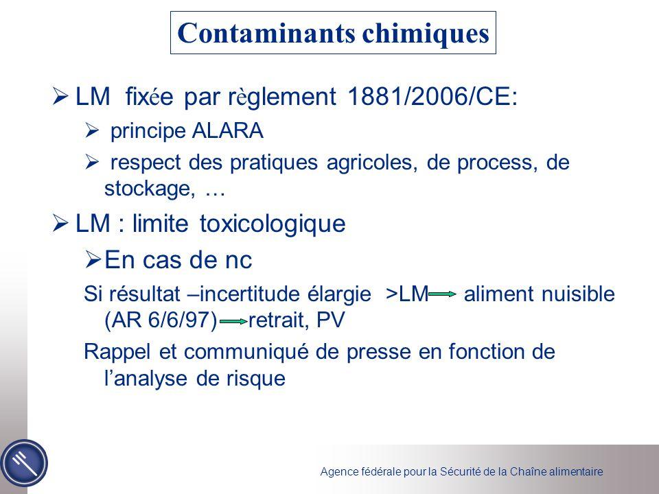 Agence fédérale pour la Sécurité de la Chaîne alimentaire LM fix é e par r è glement 1881/2006/CE: principe ALARA respect des pratiques agricoles, de