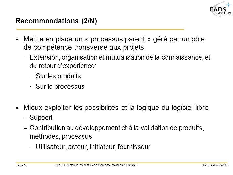 EADS Astrium © 2005 Page 16 Club SEE Systèmes informatiques de confiance, atelier du 20/10/2005 Recommandations (2/N) Mettre en place un « processus p