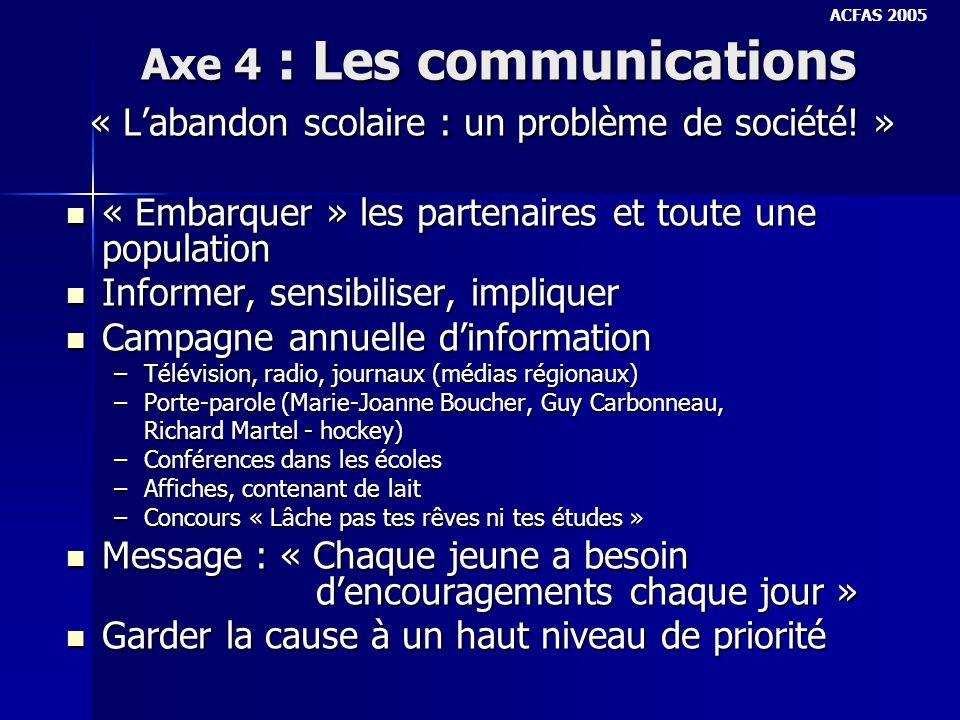 Axe 4 : Les communications « Labandon scolaire : un problème de société.