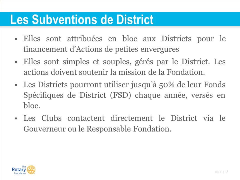 TITLE | 12 Les Subventions de District Elles sont attribuées en bloc aux Districts pour le financement dActions de petites envergures Elles sont simpl