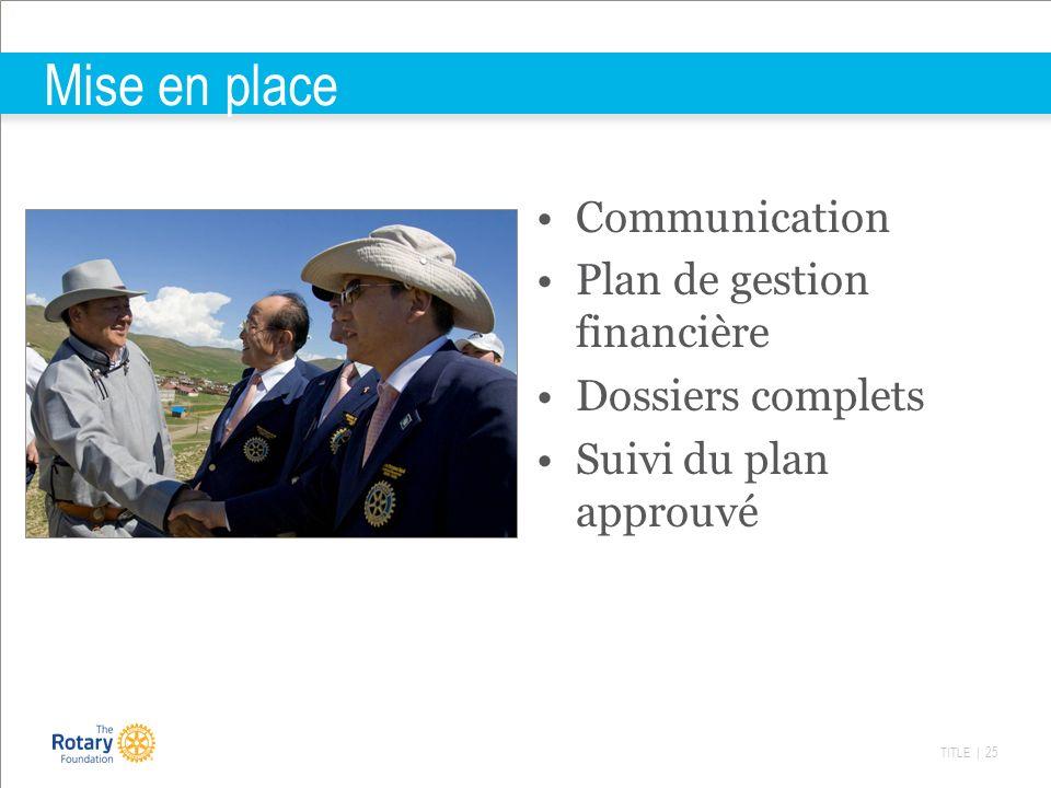 TITLE | 25 Mise en place Communication Plan de gestion financière Dossiers complets Suivi du plan approuvé
