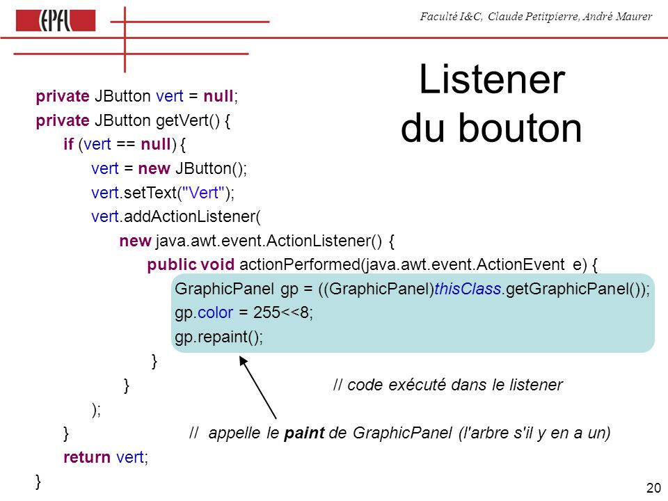 Faculté I&C, Claude Petitpierre, André Maurer 20 Listener du bouton private JButton vert = null; private JButton getVert() { if (vert == null) { vert = new JButton(); vert.setText( Vert ); vert.addActionListener( new java.awt.event.ActionListener() { public void actionPerformed(java.awt.event.ActionEvent e) { GraphicPanel gp = ((GraphicPanel)thisClass.getGraphicPanel()); gp.color = 255<<8; gp.repaint(); } } // code exécuté dans le listener ); } // appelle le paint de GraphicPanel (l arbre s il y en a un) return vert; }