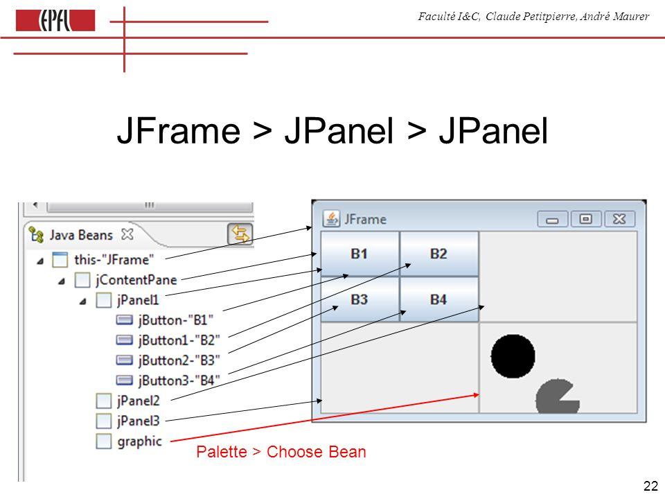 Faculté I&C, Claude Petitpierre, André Maurer 22 JFrame > JPanel > JPanel Palette > Choose Bean