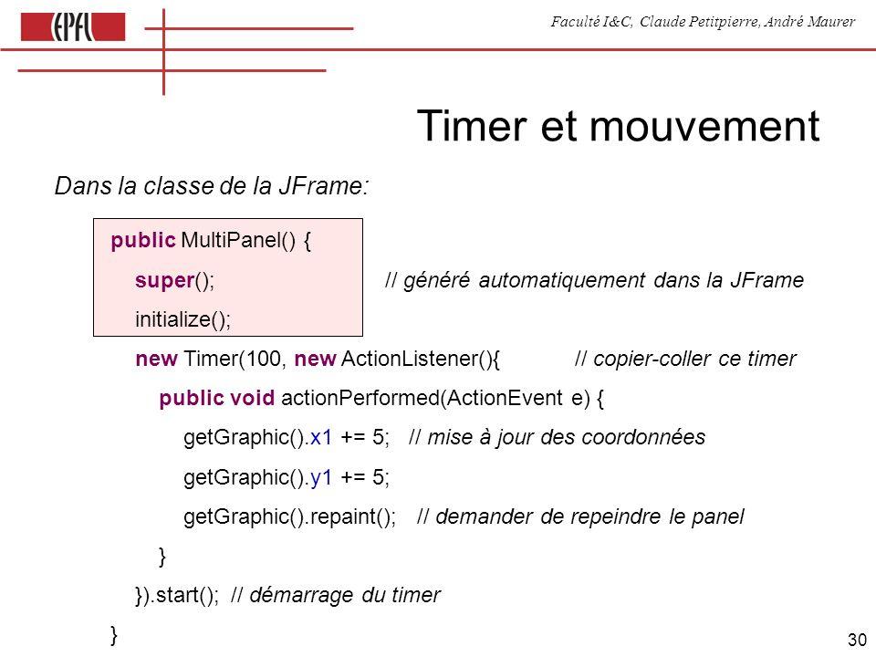 Faculté I&C, Claude Petitpierre, André Maurer 30 Timer et mouvement public MultiPanel() { super(); // généré automatiquement dans la JFrame initialize(); new Timer(100, new ActionListener(){ // copier-coller ce timer public void actionPerformed(ActionEvent e) { getGraphic().x1 += 5; // mise à jour des coordonnées getGraphic().y1 += 5; getGraphic().repaint(); // demander de repeindre le panel } }).start(); // démarrage du timer } Dans la classe de la JFrame:
