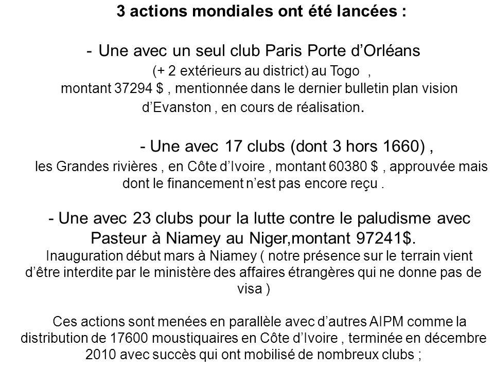 3 actions mondiales ont été lancées : -Une avec un seul club Paris Porte dOrléans (+ 2 extérieurs au district) au Togo, montant 37294 $, mentionnée da