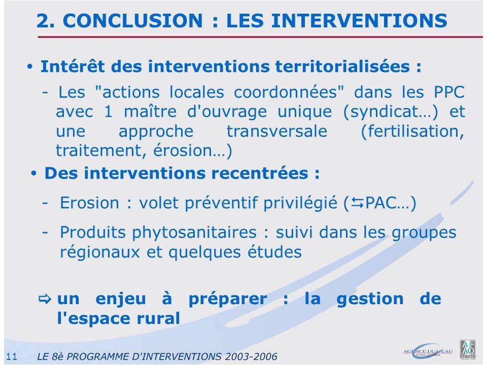 11 Des interventions recentrées : -Erosion : volet préventif privilégié ( PAC…) -Produits phytosanitaires : suivi dans les groupes régionaux et quelqu