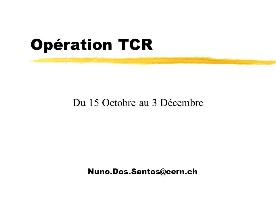 Opération TCR Nuno.Dos.Santos@cern.ch Du 15 Octobre au 3 Décembre
