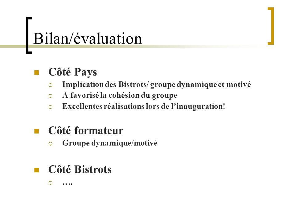 Bilan/évaluation Côté Pays Implication des Bistrots/ groupe dynamique et motivé A favorisé la cohésion du groupe Excellentes réalisations lors de lina