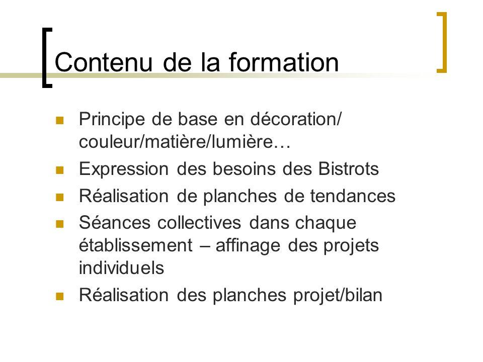 Contenu de la formation Principe de base en décoration/ couleur/matière/lumière… Expression des besoins des Bistrots Réalisation de planches de tendan