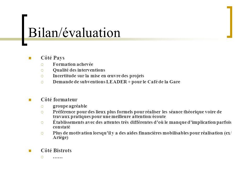 Bilan/évaluation Côté Pays Formation achevée Qualité des interventions Incertitude sur la mise en œuvre des projets Demande de subventions LEADER + po
