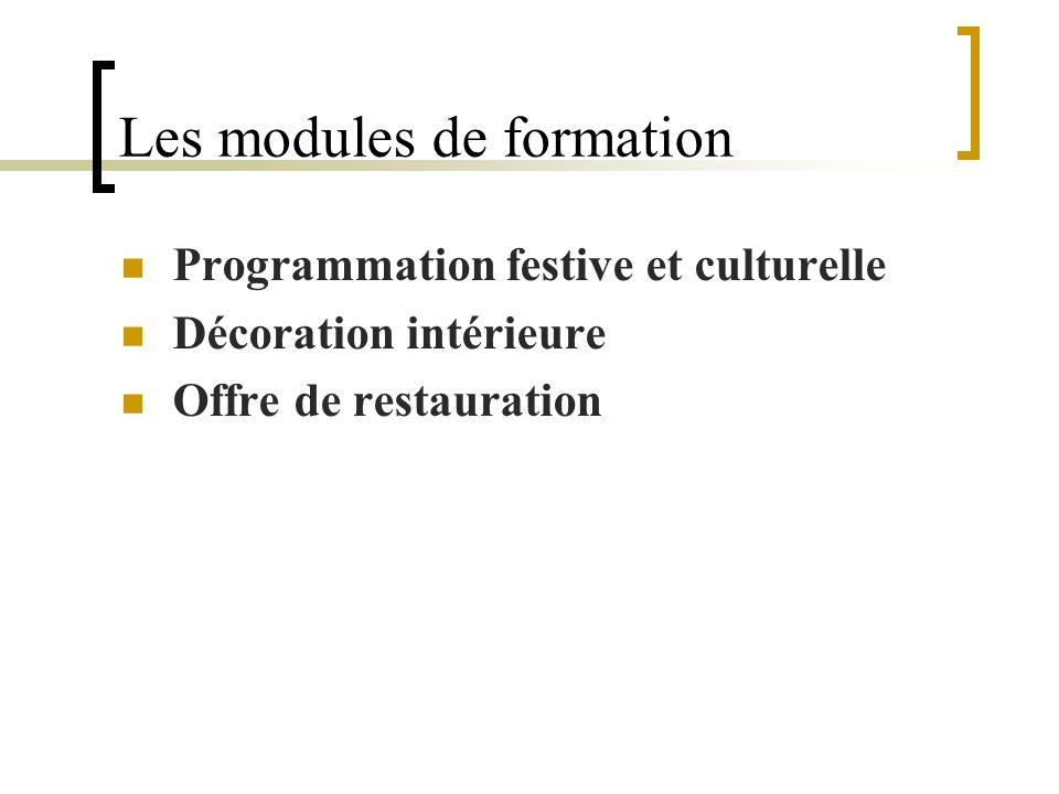 Les modules de formation Programmation festive et culturelle Décoration intérieure Offre de restauration