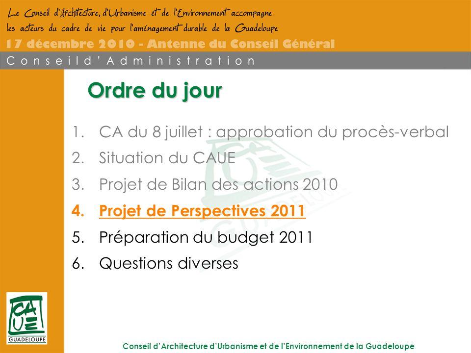 Conseil dArchitecture dUrbanisme et de lEnvironnement de la Guadeloupe Ordre du jour 1.CA du 8 juillet : approbation du procès-verbal 2.Situation du CAUE 3.Projet de Bilan des actions 2010 4.