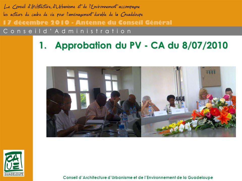 Conseil dArchitecture dUrbanisme et de lEnvironnement de la Guadeloupe 1.Approbation du PV - CA du 8/07/2010