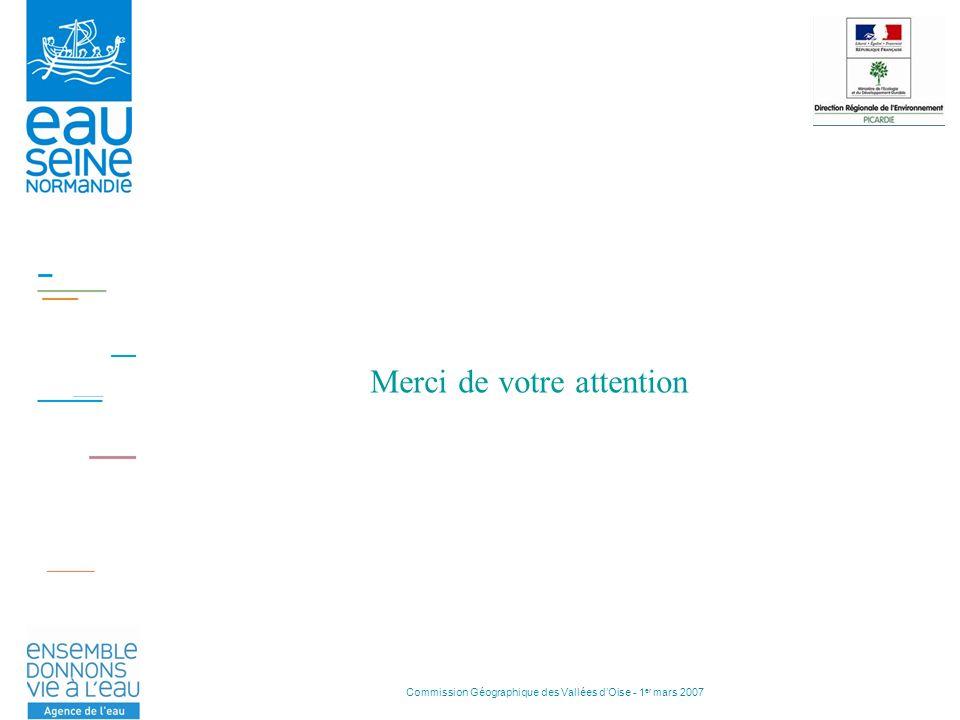 Commission Géographique des Vallées dOise - 1 er mars 2007 Merci de votre attention