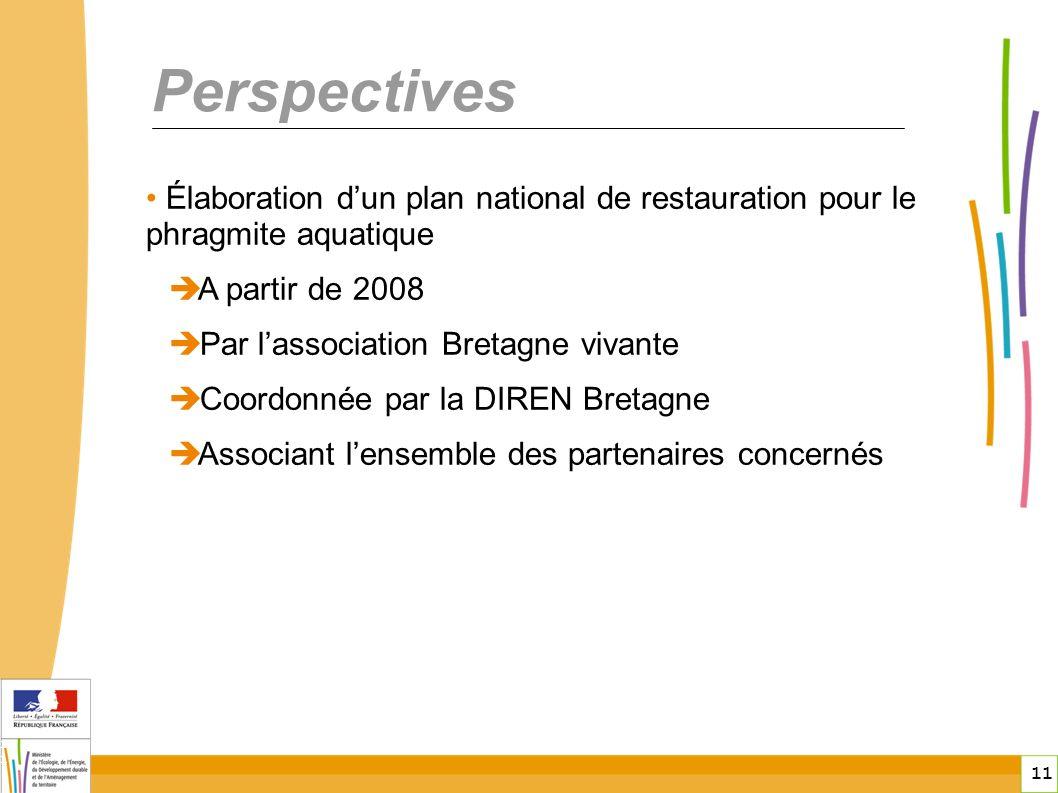 11 11 Perspectives Élaboration dun plan national de restauration pour le phragmite aquatique A partir de 2008 Par lassociation Bretagne vivante Coordonnée par la DIREN Bretagne Associant lensemble des partenaires concernés