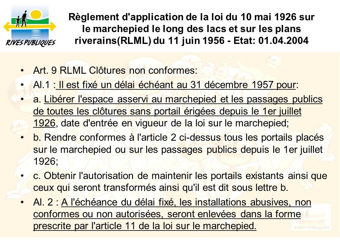 Règlement d'application de la loi du 10 mai 1926 sur le marchepied le long des lacs et sur les plans riverains(RLML) du 11 juin 1956 - Etat: 01.04.200