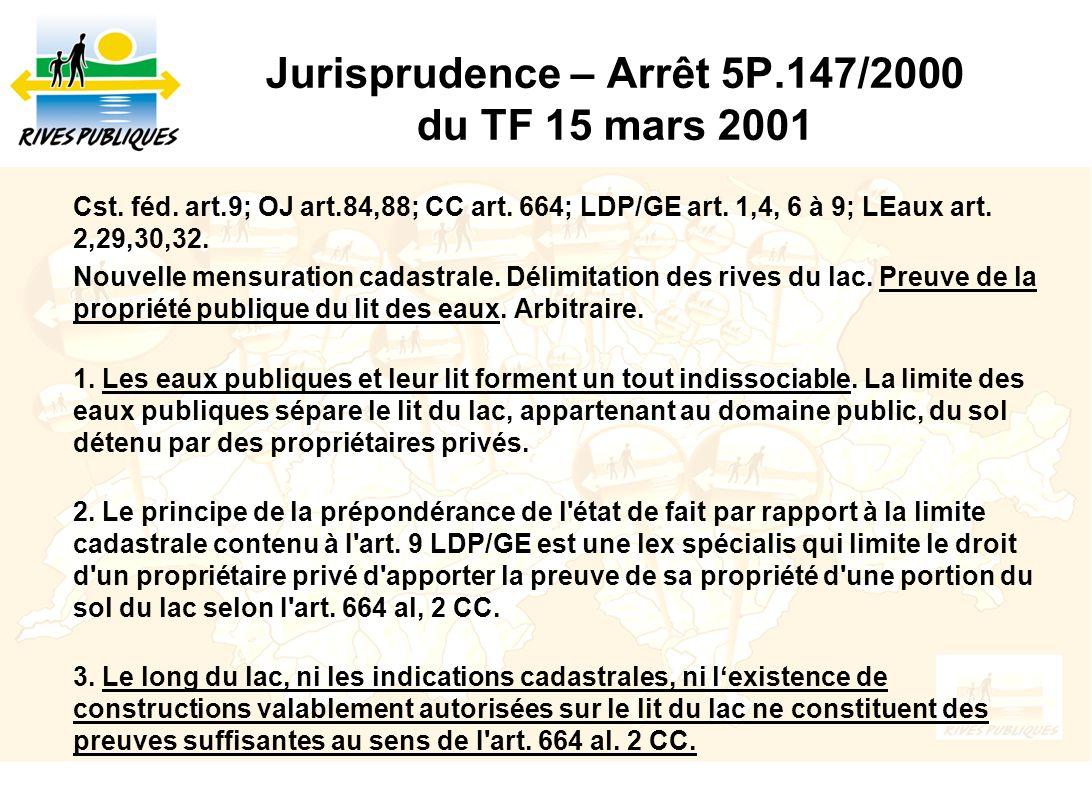 Jurisprudence – Arrêt 5P.147/2000 du TF 15 mars 2001 Cst. féd. art.9; OJ art.84,88; CC art. 664; LDP/GE art. 1,4, 6 à 9; LEaux art. 2,29,30,32. Nouvel