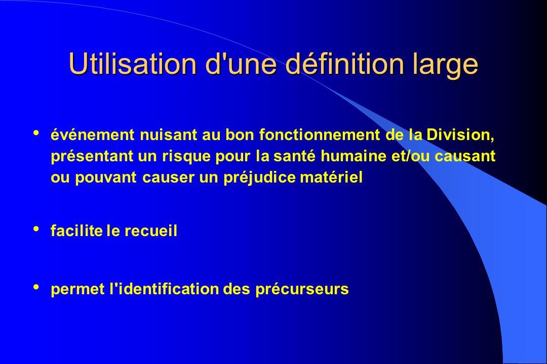 Utilisation d'une définition large événement nuisant au bon fonctionnement de la Division, présentant un risque pour la santé humaine et/ou causant ou