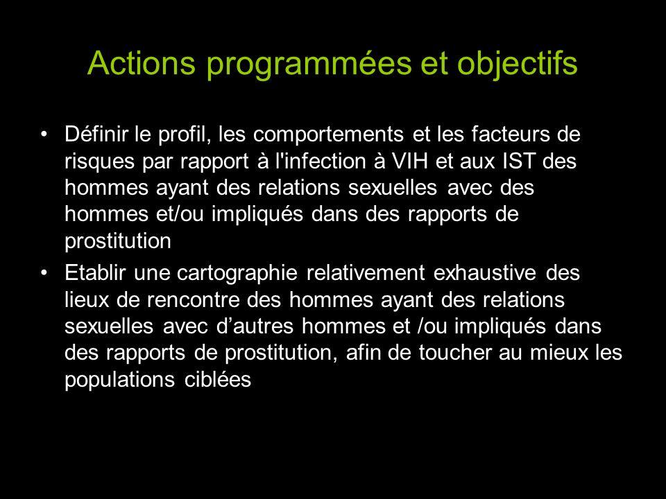 Actions programmées et objectifs Définir le profil, les comportements et les facteurs de risques par rapport à l'infection à VIH et aux IST des hommes