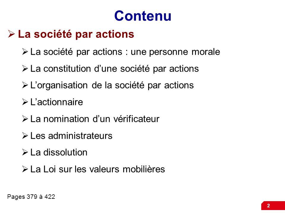 Société par actions la société par actions : une personne morale