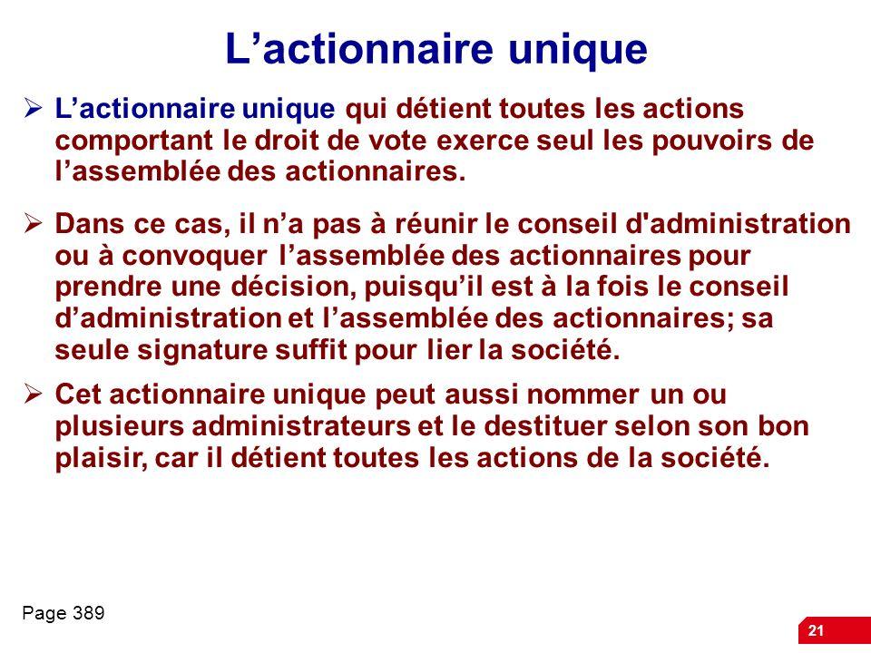 21 Lactionnaire unique Lactionnaire unique qui détient toutes les actions comportant le droit de vote exerce seul les pouvoirs de lassemblée des actionnaires.