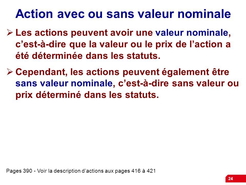 24 Action avec ou sans valeur nominale Les actions peuvent avoir une valeur nominale, cest-à-dire que la valeur ou le prix de laction a été déterminée dans les statuts.