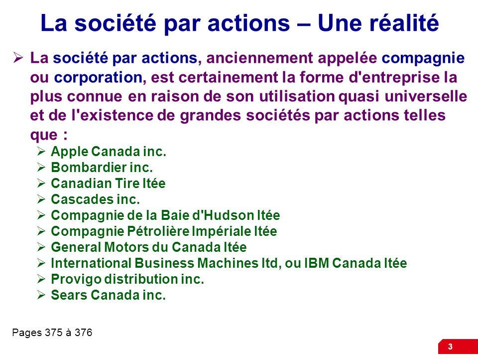 3 La société par actions – Une réalité La société par actions, anciennement appelée compagnie ou corporation, est certainement la forme d entreprise la plus connue en raison de son utilisation quasi universelle et de l existence de grandes sociétés par actions telles que : Apple Canada inc.