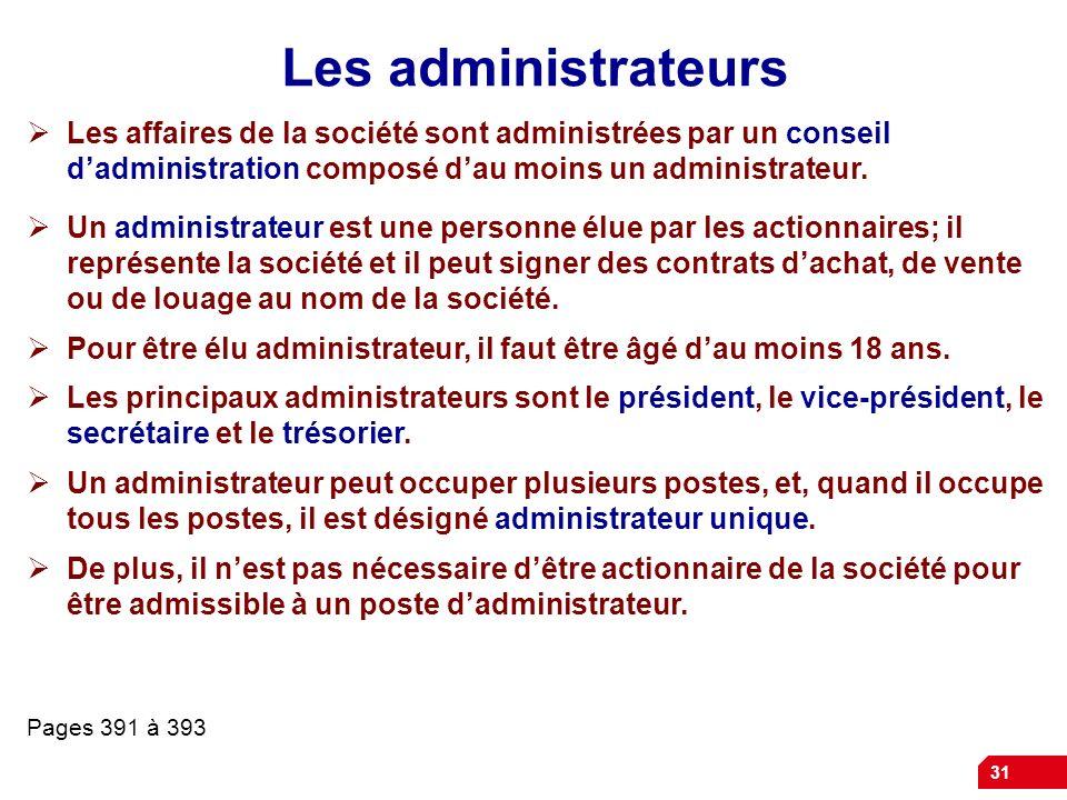 31 Les administrateurs Les affaires de la société sont administrées par un conseil dadministration composé dau moins un administrateur.