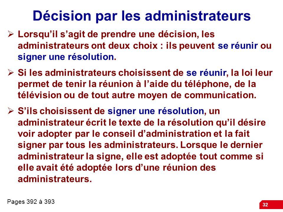 32 Décision par les administrateurs Lorsquil sagit de prendre une décision, les administrateurs ont deux choix : ils peuvent se réunir ou signer une résolution.