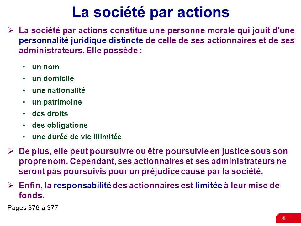 4 La société par actions La société par actions constitue une personne morale qui jouit d une personnalité juridique distincte de celle de ses actionnaires et de ses administrateurs.