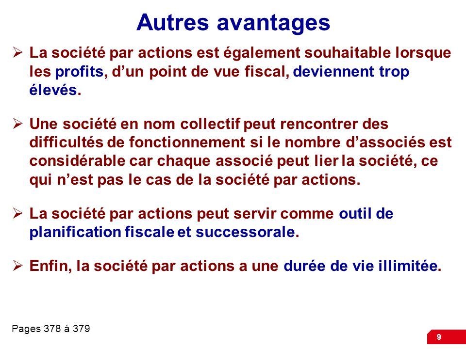 9 Autres avantages La société par actions est également souhaitable lorsque les profits, dun point de vue fiscal, deviennent trop élevés.